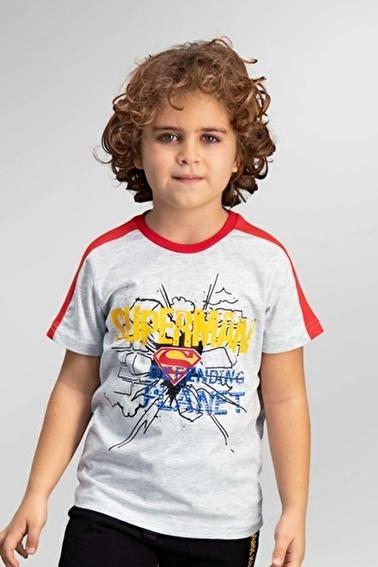 Superman  Lisanslı Açık Gri Erkek Çocuk T-Shirt Gri